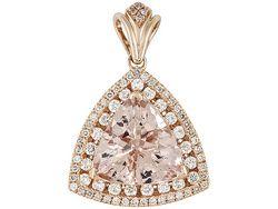 6.52ct Trillion Cor-de-rosa Morganite(Tm) With .82ctw Round White Diamonds 14k Rose Gold Pendant