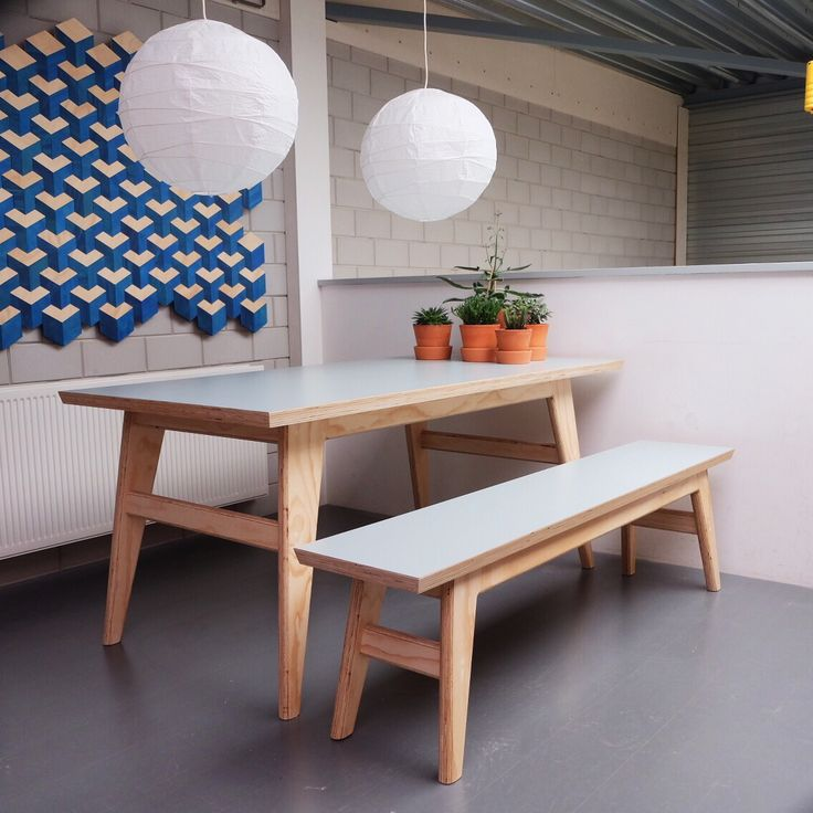 Table and bench by Milo's Makerij.. Light bleu/grey formica toplayer..