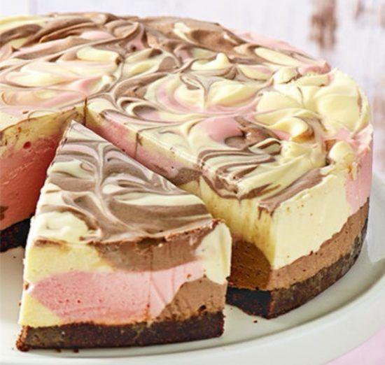 No Bake Neapolitan Cheesecake Video Tutorial