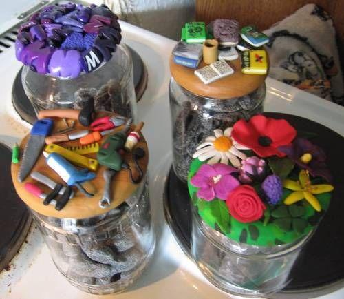 Decorated jar lids - POTTERY, CERAMICS, POLYMER CLAY
