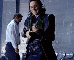 Loki (GIF) <---Tom looks like more of a maniac out of character than he ever did in character.