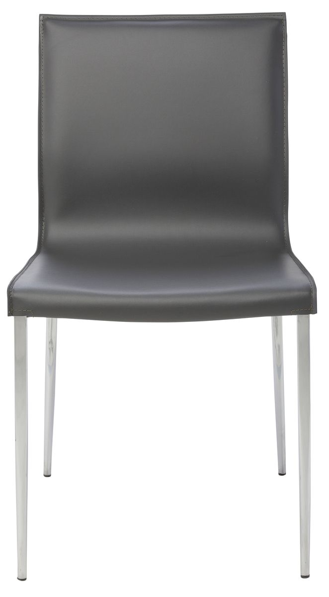Colter Steel Leg Dining Chair In Dark Grey Leather By Nuevo