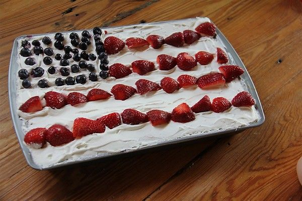 Flag cake made with angel food cake, cool whip, blueberries and ...