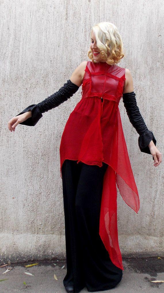 Natural Leather and Silk Vest TT34 Red Asymmetrical Silk Vest https://www.etsy.com/listing/213519812/natural-leather-and-silk-vest-tt34-red?utm_campaign=crowdfire&utm_content=crowdfire&utm_medium=social&utm_source=pinterest