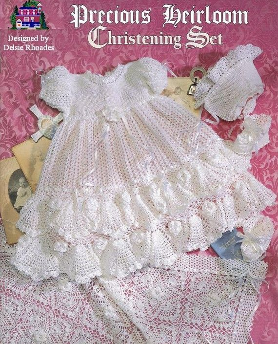 CROCHET PATTERN Christening  Gown Outfit - Baby dress blanket and booties pdf by Delsie Rhoades download through Etsy on Etsy, $7.95