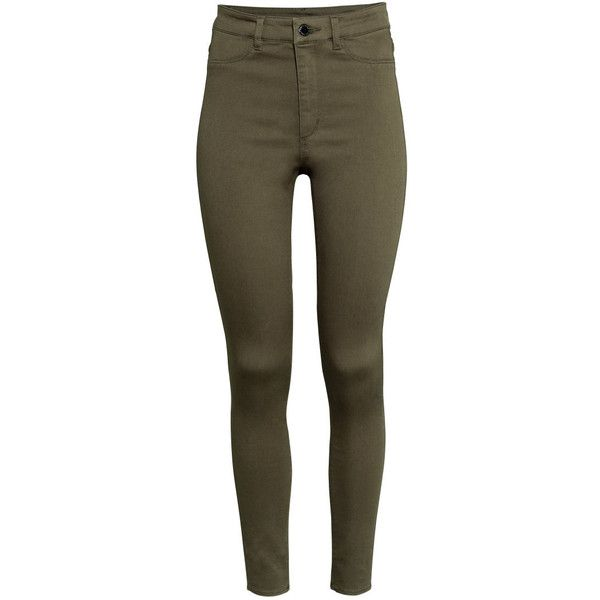 H&M Superstretch trousers found on Polyvore featuring pants, jeans, bottoms, trousers, pantalones, khaki green, brown pants, pocket pants, h&m trousers and high waisted khaki pants