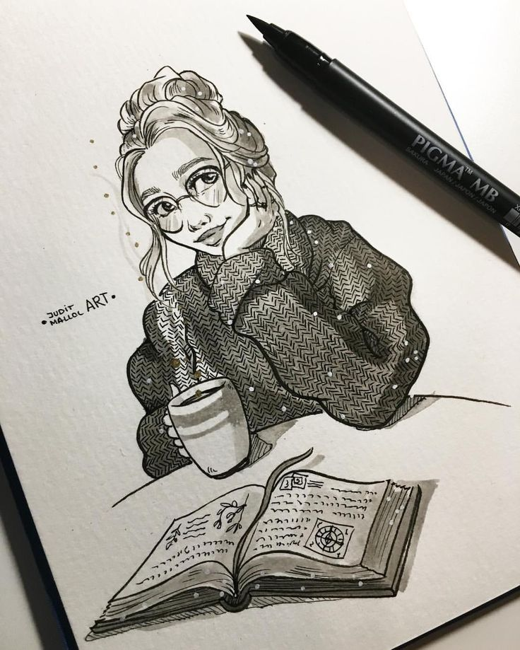#inktober day 22! ✨ Such a gloomy day today?… Just perfect to read a book with a big ass cup of hot coca ☕️ ✨Note: ALL THE INKTOBERS ARE …