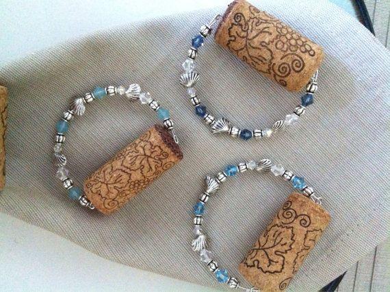 Wine cork napkin rings, swavorski crystal napkin rings, silver beaded napkin holders, kitchen decor, bridal gift, pick your color crystal