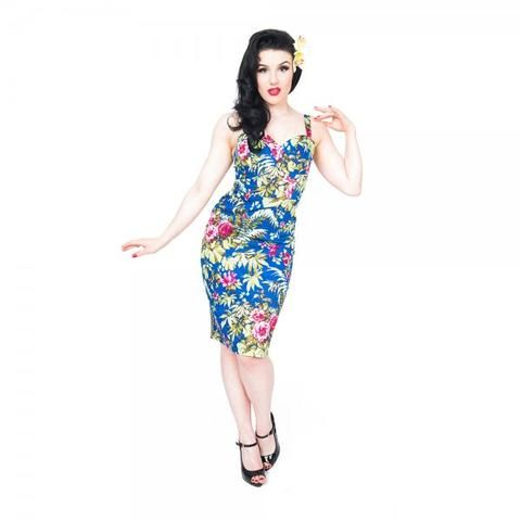 This hot little number is perfect for the beach, a summery night out on the town, tropical parties, and of course if you want to be dressed to impress on getaways and holidays.  #badbettycouture #summerwardrobe #shopping #onlineshopping #pinup #retro #50s #pinupgirl #pinupaustralia #lindybop #BannedApparel #bannedappareluk #tropical #tropicalprint #tropicaldress #Wiggledress #fitteddress #swingskirt
