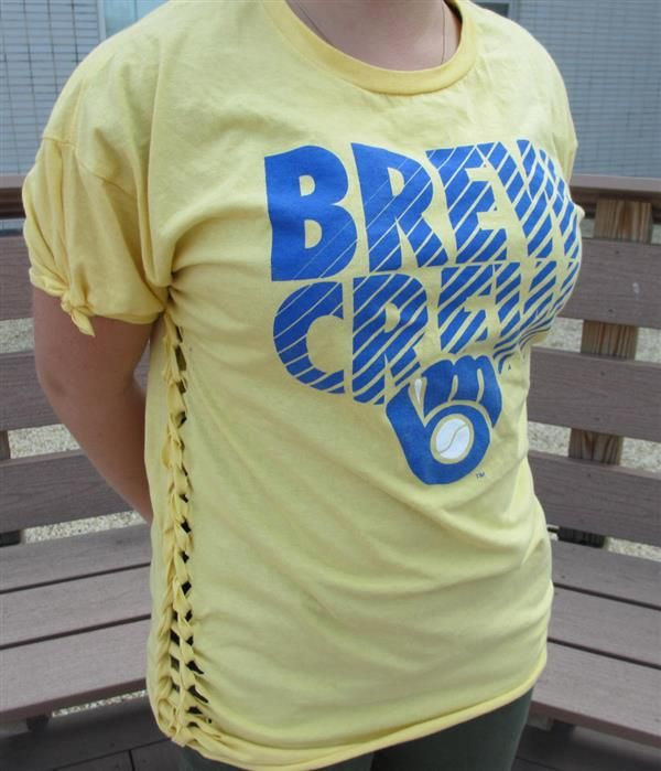 With a few simple modifications you can turn your too-big T-shirt into something more attractive and wearable.
