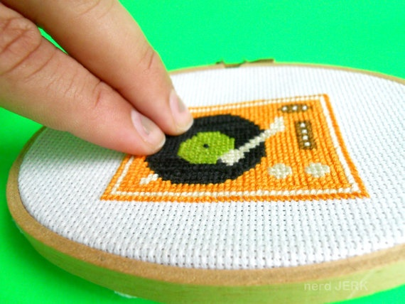 DIY Nerdy Cross-Stitch Kit - RECORD PLAYER 006- Complete With Geeky Beginner Embroidery Tutorial ...