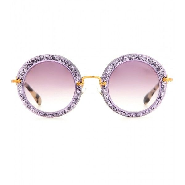 Miu Miu Round Sunglasses (400 AUD) ❤ liked on Polyvore featuring accessories, eyewear, sunglasses, glasses, miu miu, lunett, purple, purple sunglasses, purple glasses and glitter glasses: