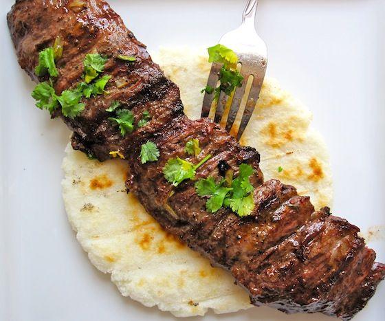 MAIN DISH - Arepa con Carne Asada (Arepa with Colombian-Style Grilled Beef) - Add Chimichurri Sauce Recipe