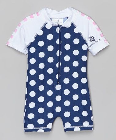 Another great find on #zulily! Navy & White Polka Dot Zip-Up One-Piece Rashguard - Infant #zulilyfinds