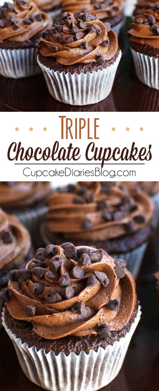 Triple Chocolate Cupcakes - Decadent chocolate cupcakes topped with a chocolate buttercream frosting and chocolate chips. The ultimate chocolate dessert!