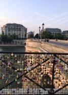 Paris bridges with locks of love