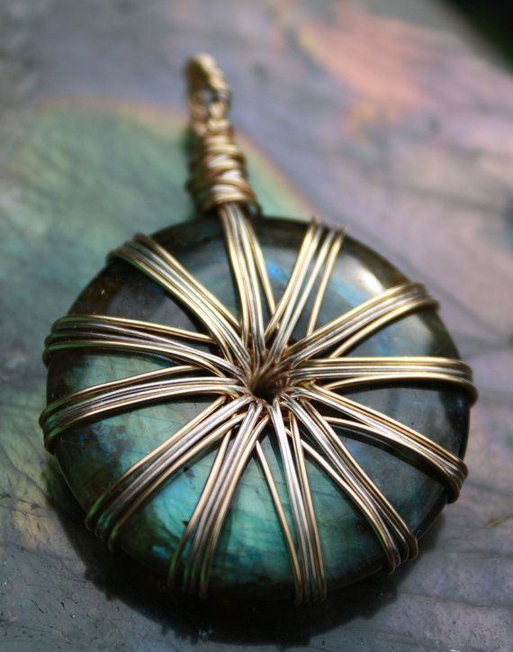Gold Filled and Fine Silver Vortex Energy Pendant Wire Wrap Super Flashy Labradorite - OBO