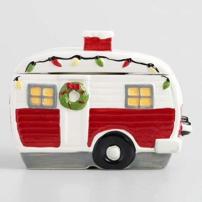Retro Holiday Camper Trailer Christmas Ceramic Cookie Candy Jar Red White 841932130768 Ebay Ceramic Cookie Jar Cookie Jar Gifts Holiday Cookies Decorated