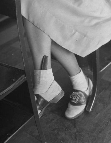 "1940′s saddle shoes, Bobby socks and a hair comb? A trendy way to say ""I care about my appearance."""
