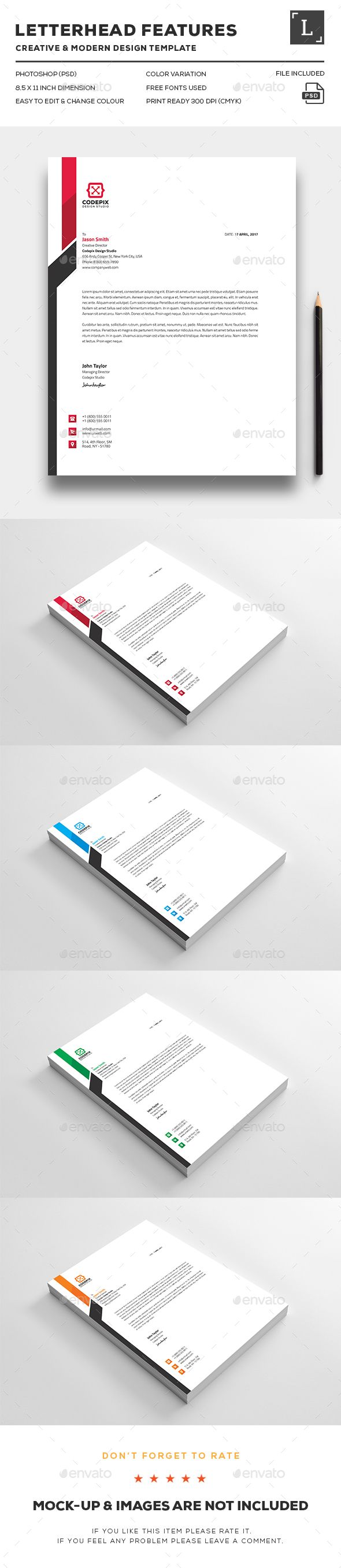 Letterhead Design Template - Stationery Print Template PSD. Download here: http://graphicriver.net/item/letterheads/16412085?s_rank=66&ref=yinkira