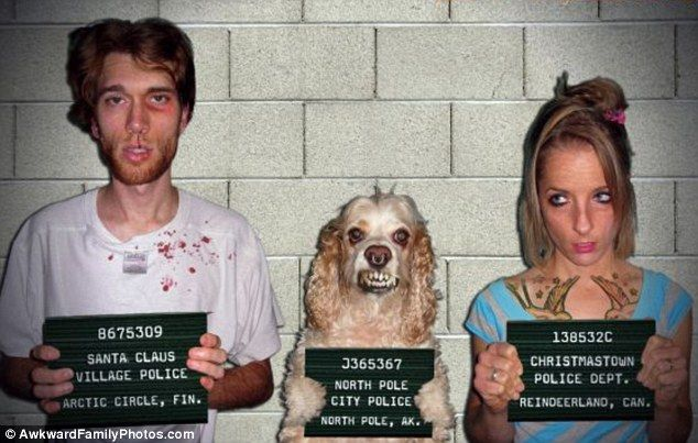 Awkward Family Photos: Criminal - Looks like this mutt got into the wrong crowd!     Read more: http://www.dailymail.co.uk/news/article-2138163/Well-awkward-The-hilarious-photos-owners-love-pets--bit-much.html#ixzz1thwTIfg1