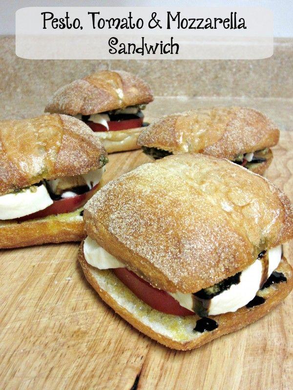 Pesto, Tomato & Mozzarella Sandwich- A super simple but incredibly amazing tasting sandwich! #lunch #sandwich