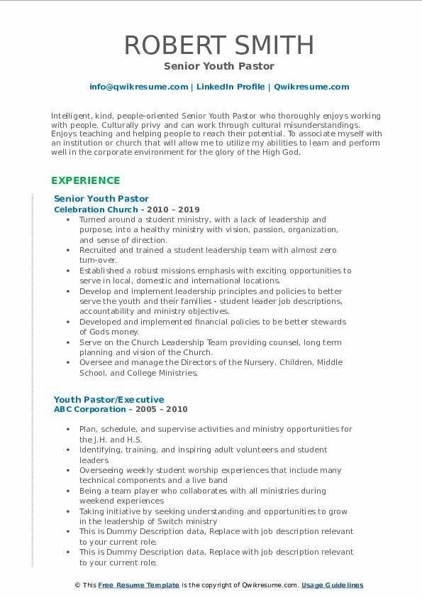 Youth Pastor Resume Samples Qwikresume Resume Template Resume Design Template Resume