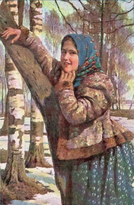 Мацкевич Иван Иванович Деревенская девушка в голубом платке