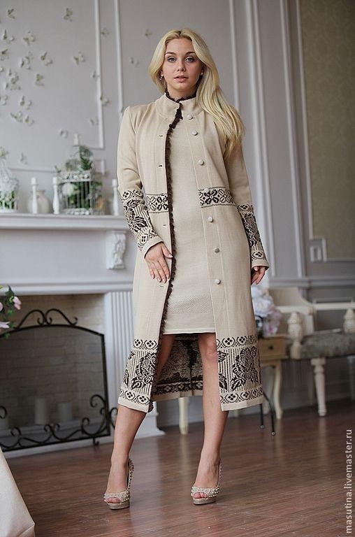 "Купить Пальто ""Luxury"" - пальто, вязаное пальто, Осеннее пальто, Бежевое пальто, жаккардовое пальто"