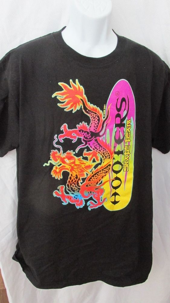 b757c194 MENS COLLECTIBLE VINTAGE HOOTERS DRAGON SKATEBOARD TEAM 2001 BLACK T-SHIRT  L #DeltaHOOTERS #GraphicTee