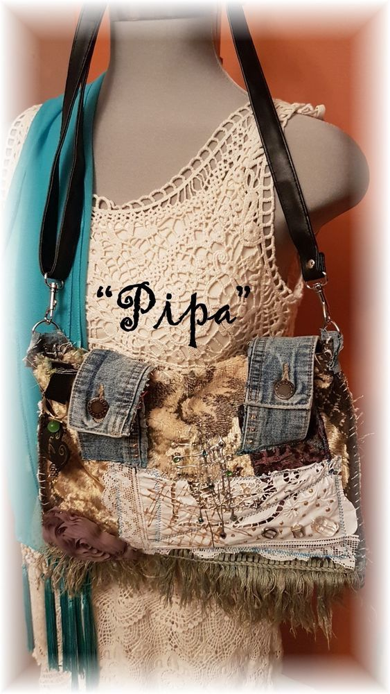 "Hand Made BoHo Bohemian Handbag Original Signed Numbered FAB*BOHO ""PIPA"" #005 #FABBOHO #ShoulderBag"
