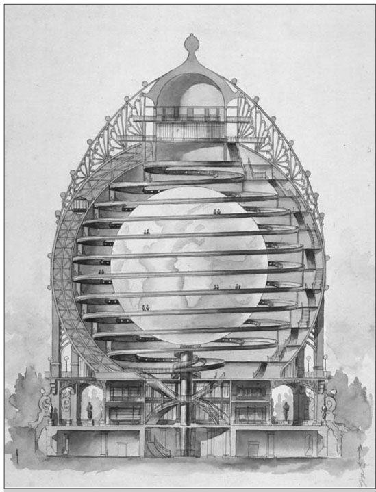 Projet de globe Reclus, écorché dessiné par Louis Bonnier