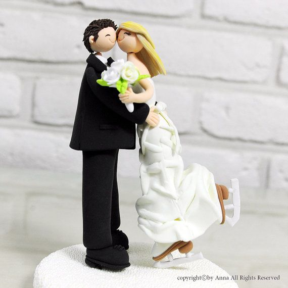 Omg. This is going on my cake for sure! Figure skating wedding cake topper by annacrafts.