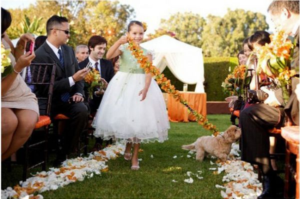 Decorate leash and have the flower girl walk your dog down the aisle.