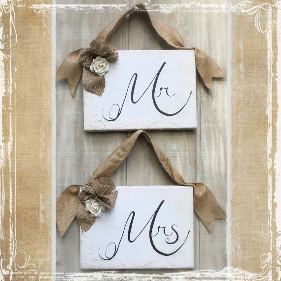 Mr and mrs wedding signs pair of rustic burlap by