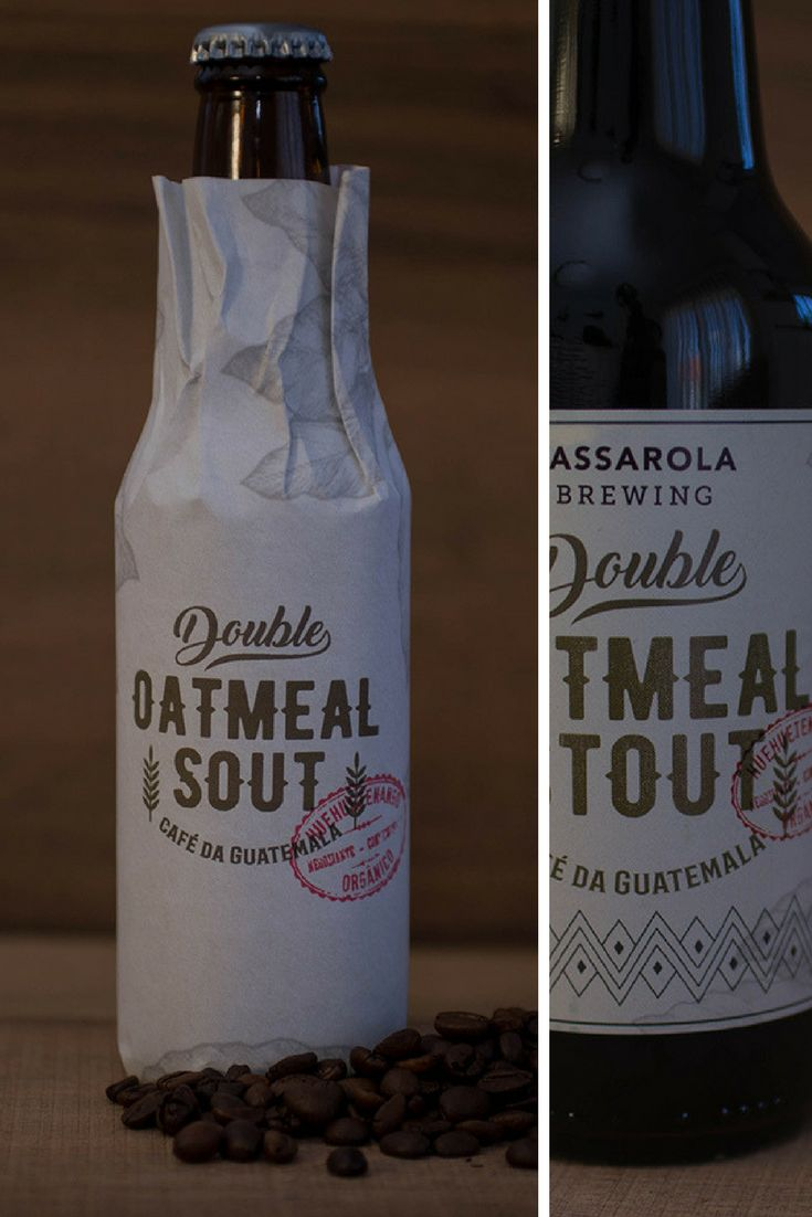 Packaging & label design created for a 'Passarola's Limited Edition Double Oatmeal Stout' with coffee from Guatemala.