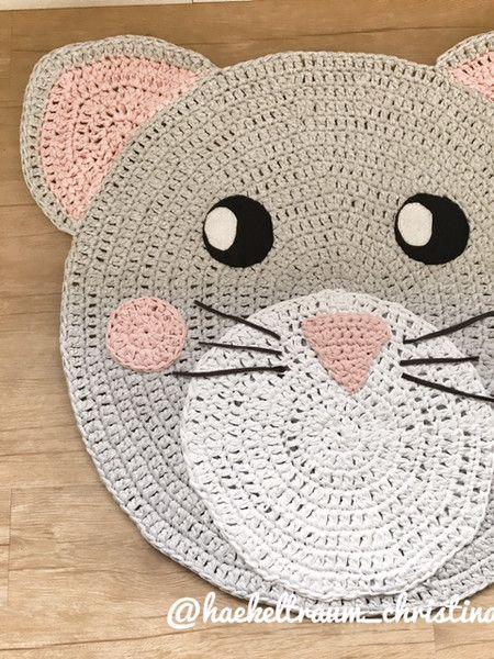 """Teppiche - Kinderzimmerteppich""""Katze grau rosa"""" 100 cm - ein Designerstück von Haekeltraum_Christina bei DaWanda"""