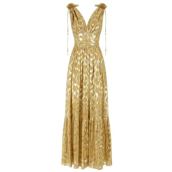 Temperley London Rider VNeck Dress (25,220 MXN) ❤ liked on Polyvore featuring dresses, gold, maxi, beige dress, flower maxi dress, v neck maxi dress, temperley london and v neck dress