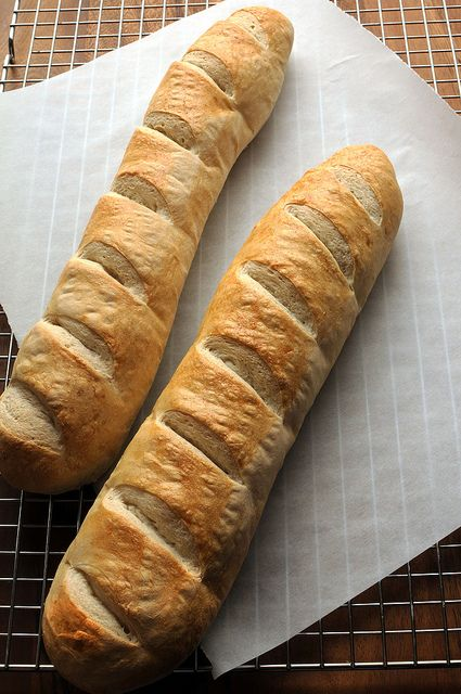Crusty French Bread by Salad in a Jar.  French bread is off my shopping list and will be homemade from now on! Made this today..quick and easy and delicious.
