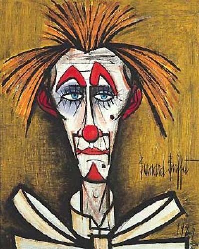 Bernard BUFFET - Clown fond jaune - 1985