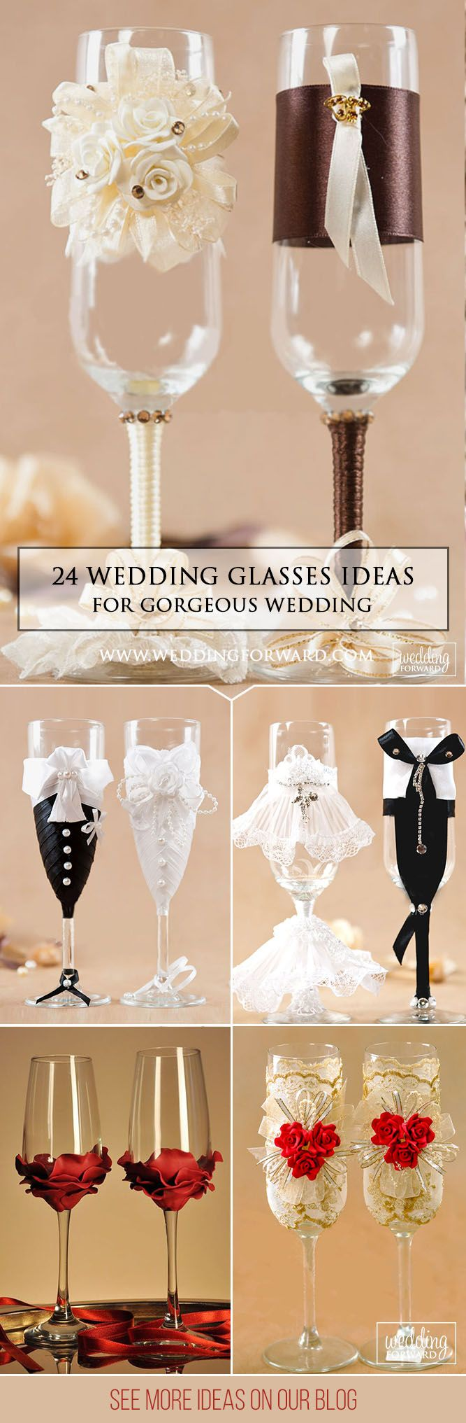 24 Wedding Glasses Décor Ideas To Impress You ❤ The best ideas toasting flutes for bride and groom in a different style which impress you. Look this wedding glasses decor ideas and happy planning! See more http://www.weddingforward.com/wedding-glasses/ # wedding #decorations