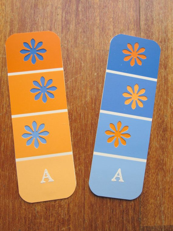 Paint chip bookmarks with decorative punches