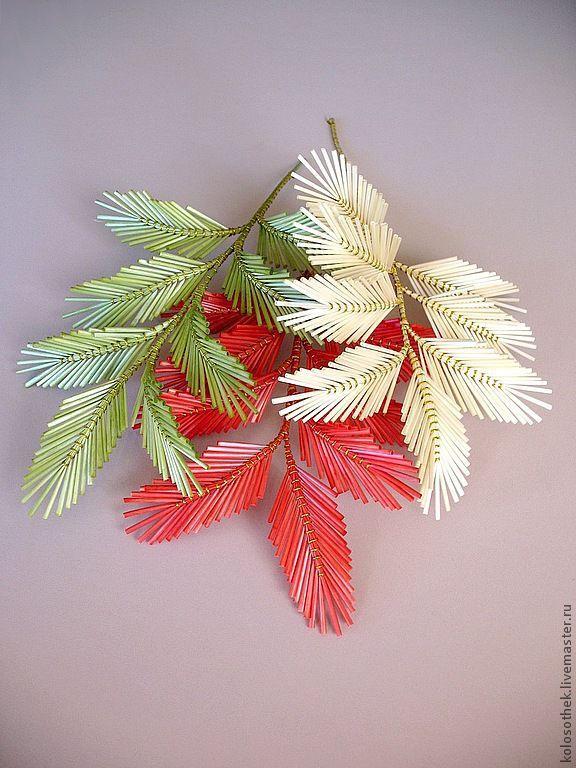 Купить Декоративная веточка из соломки. - солома, Соломка, плетение из соломки, изделия из соломки, цветы