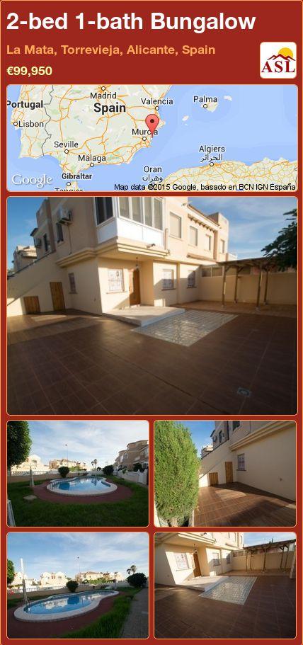 2-bed 1-bath Bungalow in La Mata, Torrevieja, Alicante, Spain ►€99,950 #PropertyForSaleInSpain