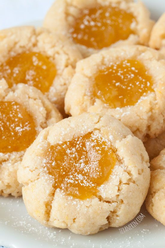 Grain Free Lemon Curd Cookies by texanerinbaking: These soft and chewy lemon curd thumbprint are grain-free and gluten-free. #Cookies #Lemon_Curd #GF