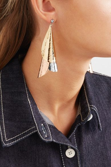 J.W.Anderson | Hammered gold-plated, silver-tone and rose gold-tone earrings | NET-A-PORTER.COM