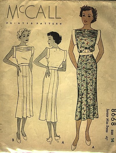 Vintage 1930s dress pattern.