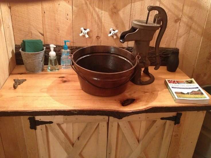 17 best images about western bathrooms on pinterest log for Barn style kitchen sink