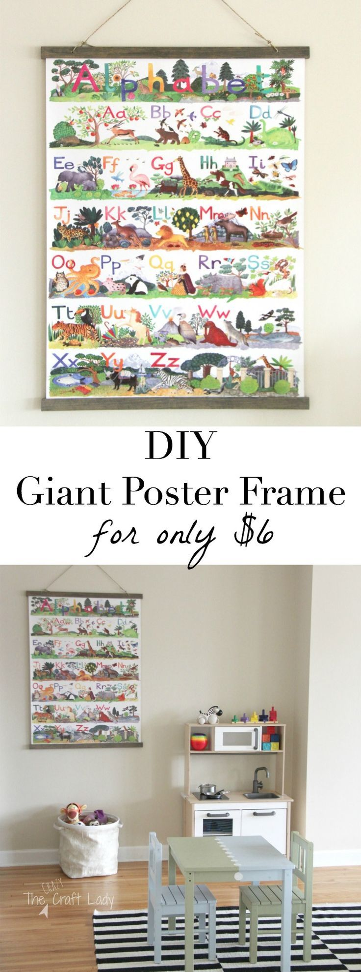 How to make a large poster frame for only $6!  This is a super-easy tutorial for making a custom frame... with an amazing top to keep your poster from ripping! Love this!