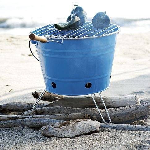 Fun and Functional Outdoor Dinnerware: BBQ bucket grill from West Elm.: Westelm, At The Beaches, Clams Baking, Bbq Grilled, Beaches Bbq, Beaches Camps, Outdoor Grilled, West Elm, Beaches Picnics